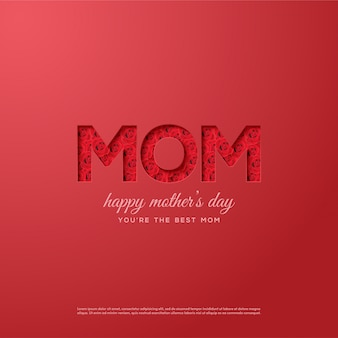 Mother's day background with illustrations of red roses in mom writing