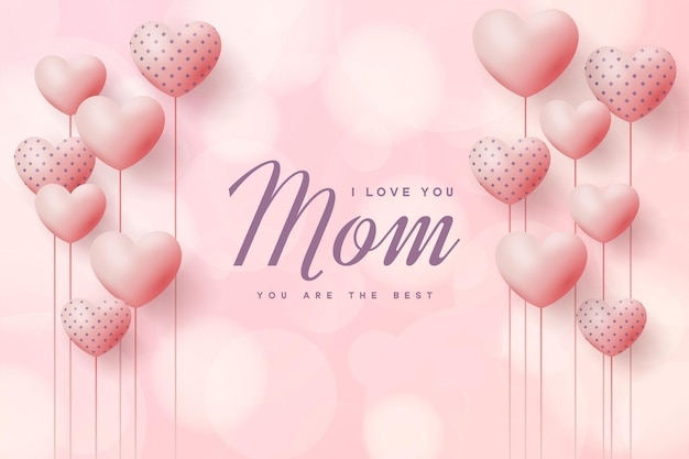 Mother's day background with love balloons and ribbon.