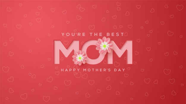 Mother's day background with pink colored embossed illustrations with pink flowers.