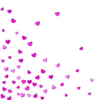 ピンクのキラキラ紙吹雪と母の日の背景。バラ色の孤立したハートのシンボル。母の日の背景はがき。ギフトクーポン、バウチャー、広告、イベントのテーマが大好きです。女性の休日