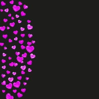 핑크 반짝이 색종이와 어머니의 날 배경입니다. 장미 색에 고립 된 심장 기호입니다. 어머니의 날 배경 엽서입니다. 파티 초대, 소매 제안 및 광고에 대한 사랑 테마. 여성 휴가