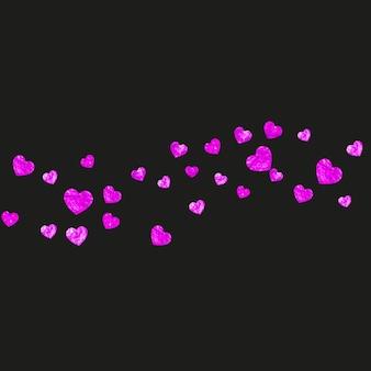 핑크 반짝이 색종이와 어머니의 날 배경입니다. 장미 색에 고립 된 심장 기호입니다. 어머니의 날 배경 엽서입니다. 바우처, 특별 비즈니스 배너에 대한 사랑 테마입니다. 여성 휴가