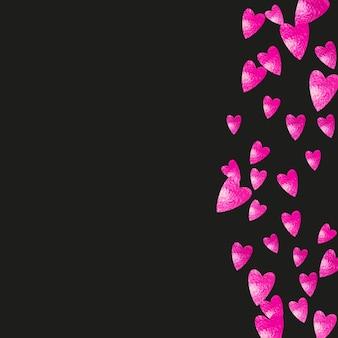 ピンクのキラキラ紙吹雪と母の日の背景。バラ色の孤立したハートのシンボル。母の日のポストカード。チラシ、特別ビジネスオファー、プロモーションのテーマが大好きです。女性の休日のテンプレート