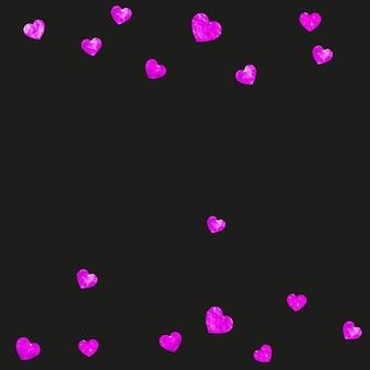 ピンクのキラキラ紙吹雪と母の日の背景。バラ色の孤立したハートのシンボル。母の日のポストカード。ポスター、商品券、バナーの愛のテーマ。女性の休日のテンプレート