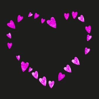 ピンクのキラキラ紙吹雪と母の日の背景。バラ色の孤立したハートのシンボル。母の日のポストカード。バウチャー、特別なビジネスバナーの愛のテーマ。女性の休日のテンプレート