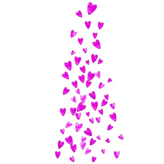 Mother's day background with pink glitter confetti. isolated heart symbol in rose color. postcard for mother's day background. love theme for flyer, special business offer, promo. women holiday