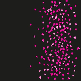 Mother's day background with pink glitter confetti. isolated heart symbol in rose color. postcard for mother's day. love theme for voucher, special business banner. women holiday template