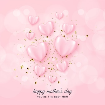 Mother's day background with pink love balloons.