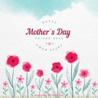 Mother's day background with red flowers in watercolor