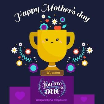 트로피와 장식 꽃으로 어머니의 날 배경