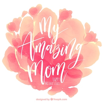Mother's day background with watercolor stains in pink tones