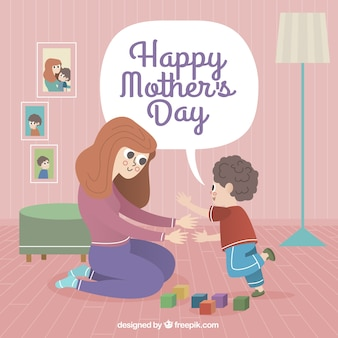 Mother's day background of woman playing with her son