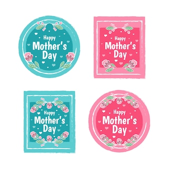 Mother's day badge collection in flat design