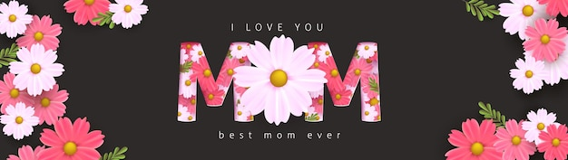 Mother's day banner  layout with flower