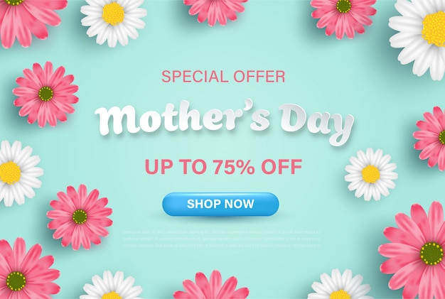 Mother's day banner sale background on pastel color with realistic flowers.