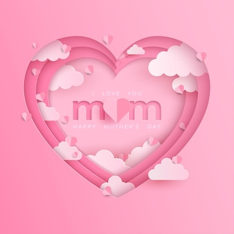 Mother's day banner with heart on pink background