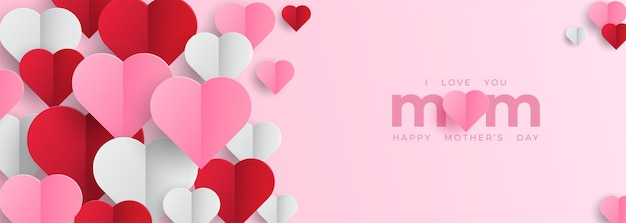 Mother's day banner with hearts
