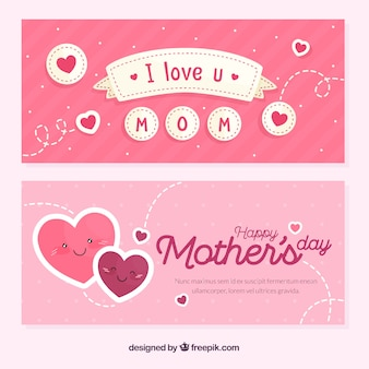 Mother's day banners in flat style