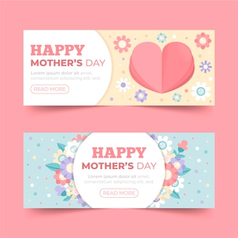Mother's day banners flat style