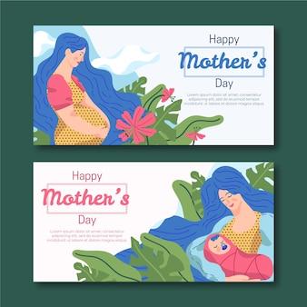 Баннеры ко дню матери в плоском дизайне