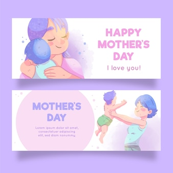 Mother's day banners with greeting