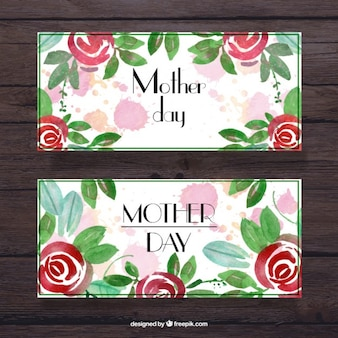 Mother's day banners with watercolor roses and leaves