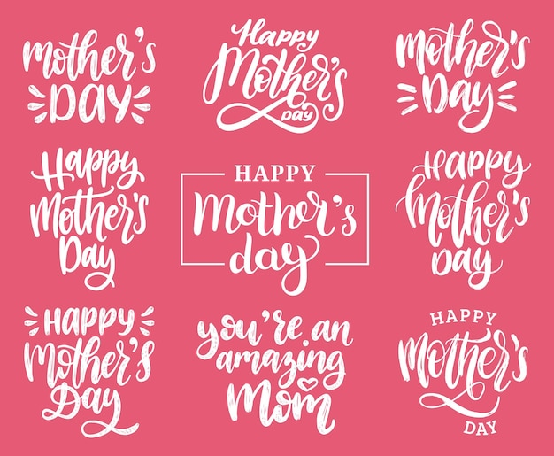 Mother's day calligraphy lettering set.