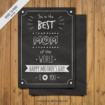 Mother's day card in blackboard style
