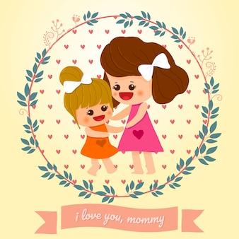 母の日のカードのお母さんと娘のかわいい手が描か