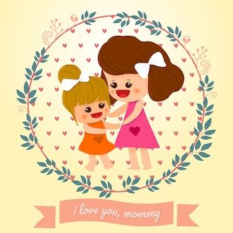 Mother's day card mom and daughter cute hand drawn