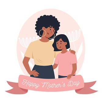Mother's day card, mom holds little daughter in her arms