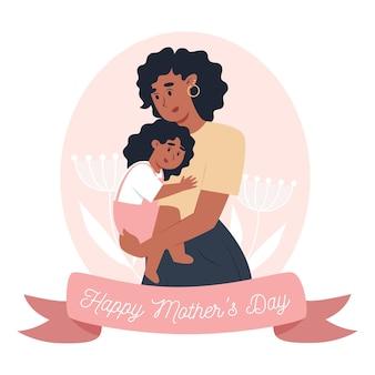 母の日カード、お母さんは小さな娘を腕に抱きます