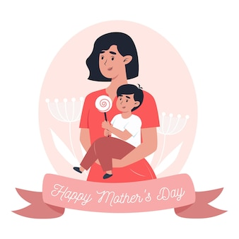 Mother's day card, mom holds little son in her arms