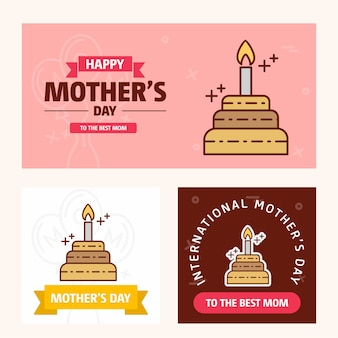 Mother's day card with cake logo and pink theme vector