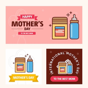 Mother's day card with cosmetics logo and pink theme vector