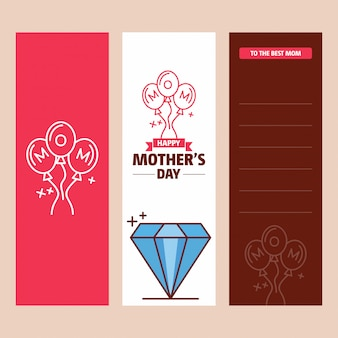 Mother's day card with diamond logo and pink theme vector