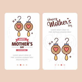 Mother's day card with earings logo and pink theme vector