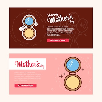 Mother's day card with facepowder logo and pink theme vector