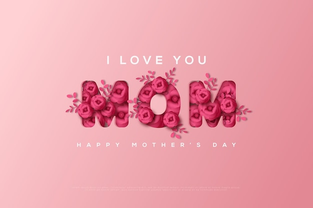Mother's day card with floral forming the letters mom.