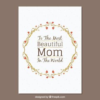 花の花輪を持つ母の日カード