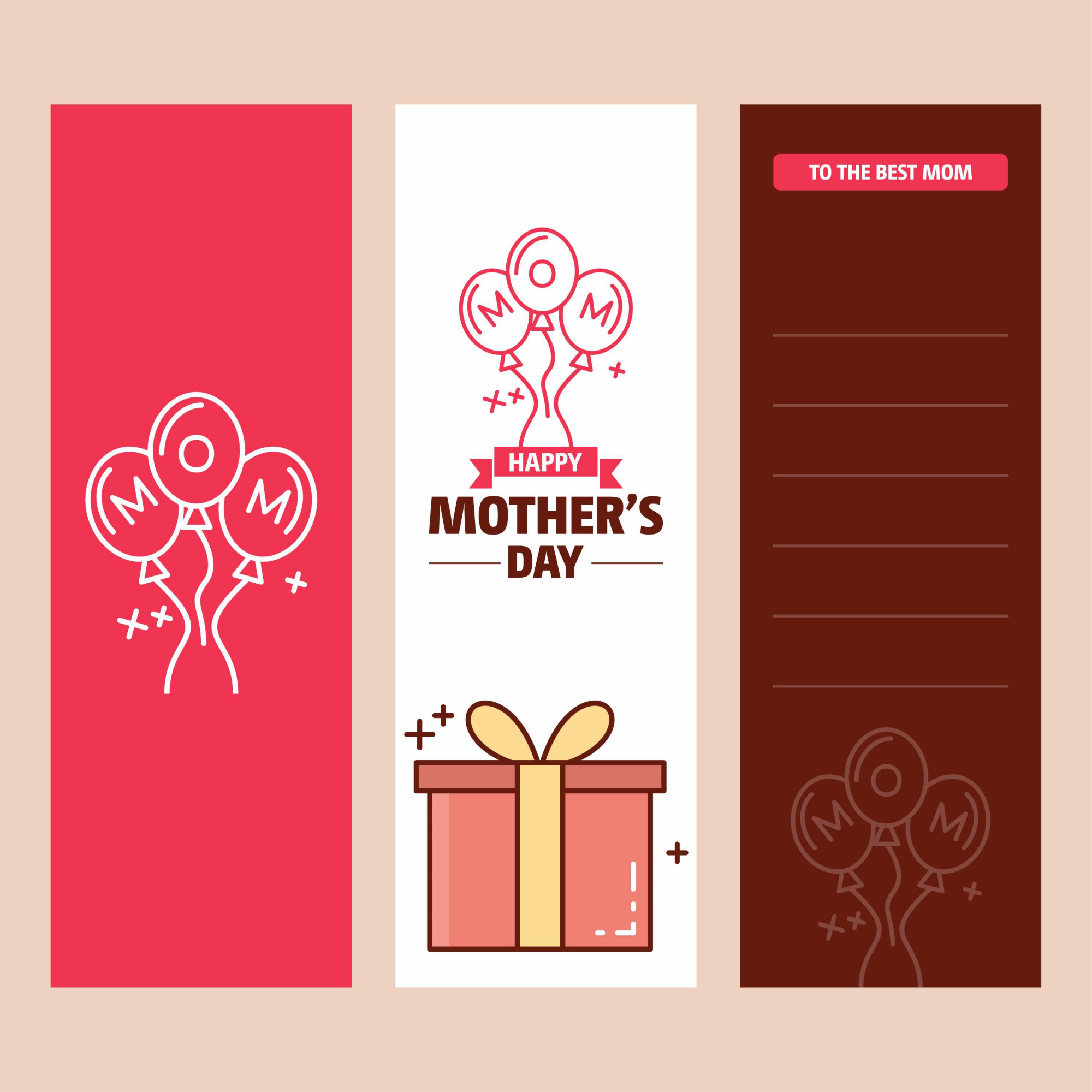 Mother's day card with giftbox logo and pink theme vector