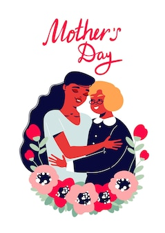 Mother's day card with lady embracing elderly woman