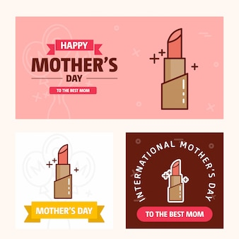Mother's day card with lipstick logo and pink theme vector