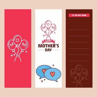 Mother's day card with love logo and pink theme vector
