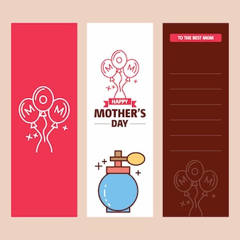 Mother's day card with perfume logo and pink theme vector