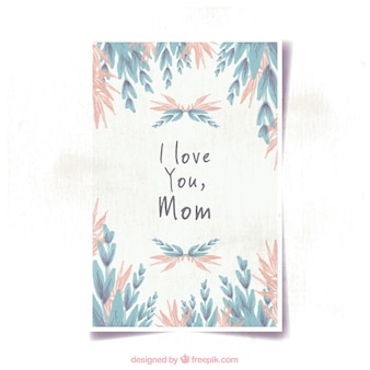 Mother's day card with pink and blue vegetation