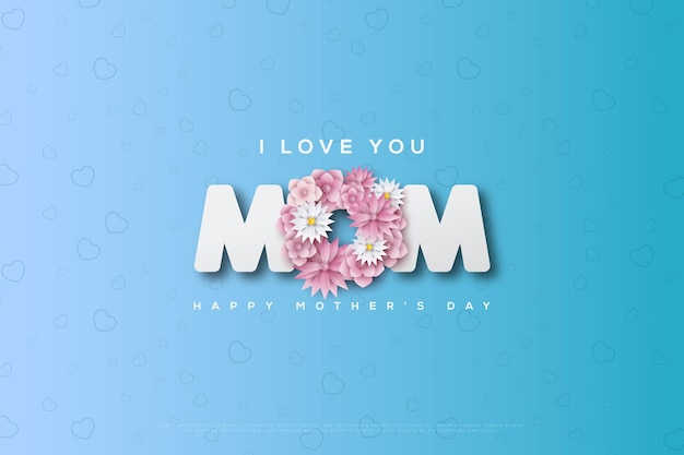 Открытка ко дню матери с розовыми цветами, образующими букву o на синей карточке.