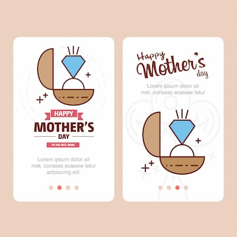 Mother's day card with ring logo and pink theme vector