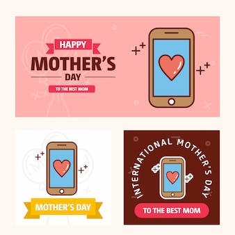 Mother's day card with smart phone logo