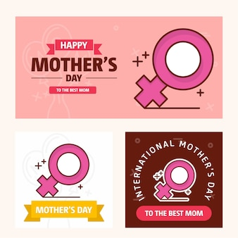 Mother's day card with women's  logo and pink theme vector